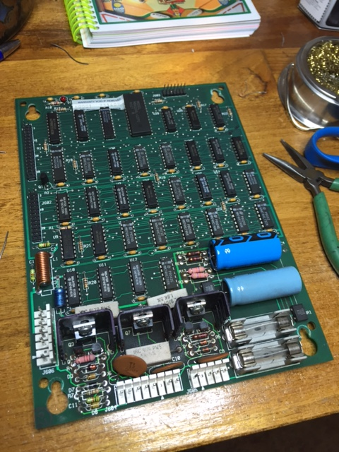 Replaced components on the Dot Matrix Controller board on bench.